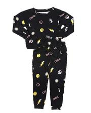 Girls - 2 Pc Elastic Waist Top & Jogger Pants Knit Set (4-6X)-2686649