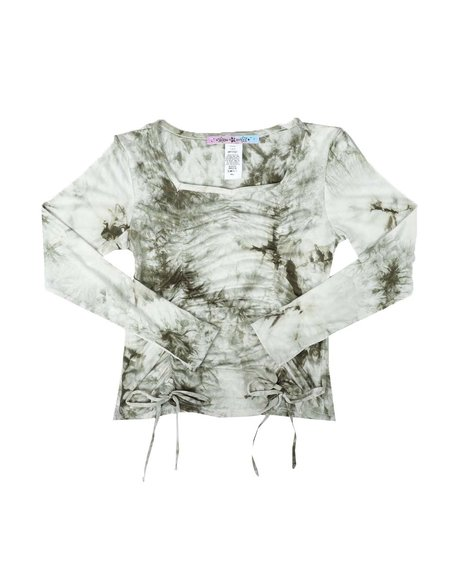 Made of Stars - Long Sleeve Ruched Tie Front Top (7-14)