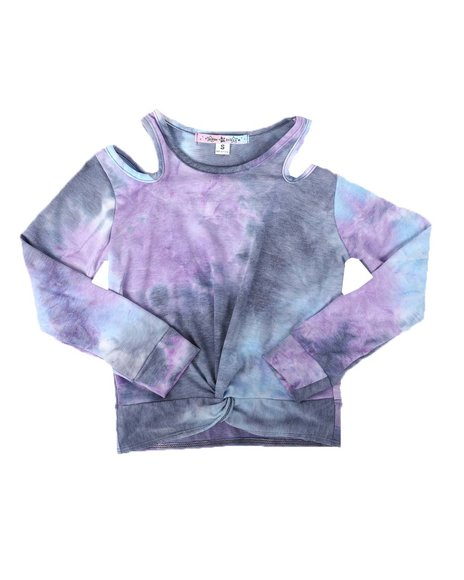 Made of Stars - Cut Out Tie Dye Twist Front Top (7-14)