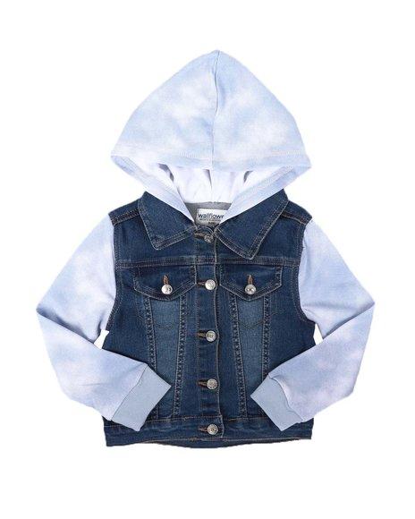 La Galleria - Jean Jacket W/ Tie Dye Sleeves & Hood (4-6X)
