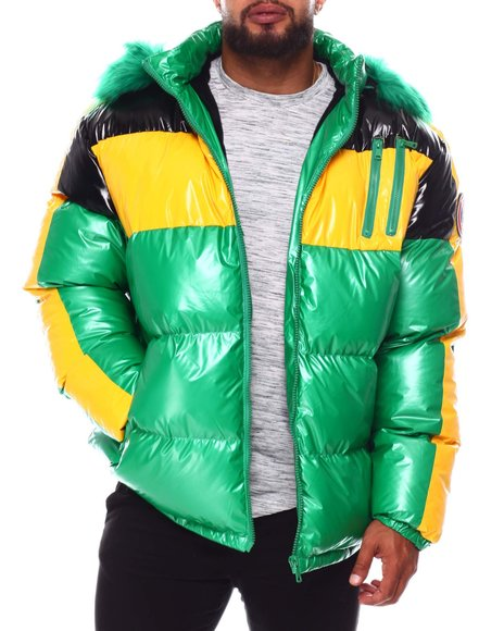 Makobi - Colorblock PU Puffer Coat (B&T)