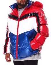 Heavy Coats - Geometric Colorblock PU Puffer Coat (B&T)-2688373