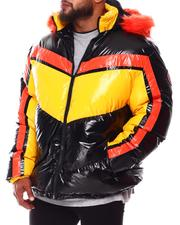 Heavy Coats - Geometric Colorblock PU Puffer Coat (B&T)-2688383