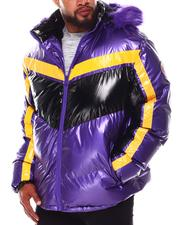 Heavy Coats - Geometric Colorblock PU Puffer Coat (B&T)-2688388