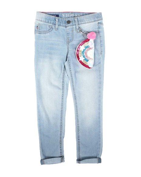 Vigoss Jeans - Pull-On Skinny Jeans W/ Rainbow Glitter Keychain (7-14)