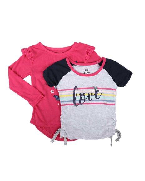 La Galleria - 2 Pack Short & Long Sleeve Fashion Shirts (2T-4T)