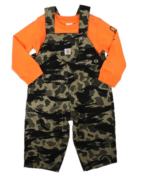 Carhartt - 2 Pc Knit Long Sleeve Onesie Bodysuit & Camo Overalls Set (3-24Mo)