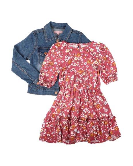 BCBGirls - 2-Piece Dress W/ Denim Jacket Set (4-6X)