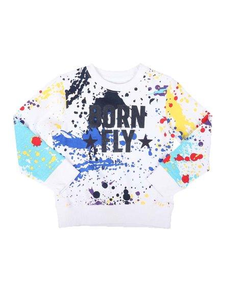 Born Fly - Splatter Print Fleece Crew Neck Pullover Sweatshirt (4-7)