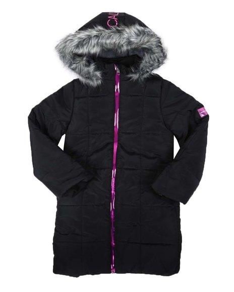Calvin Klein - Metallic Zip Logo Long Puffer Jacket W/ Hood (7-16)