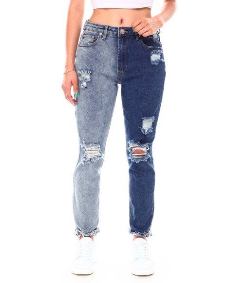 Fashion Lab - Color Block Jeans W/Destruction