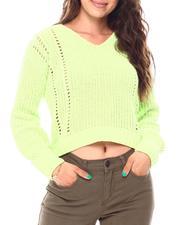 Sweaters - L/S Balloon Chenille Shaker Rib/Pointelle Mix V- Neck Hi-Low Hem Pullover-2687109
