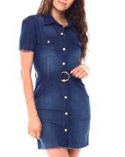 Dresses - Short Sleeve Belted Dress-2692110