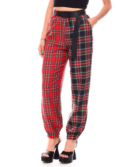 Fashion Lab - Color Block W/Plaid Print Pants