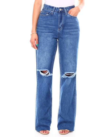 Fashion Lab - Hi Rise Wide Leg Raw Hem