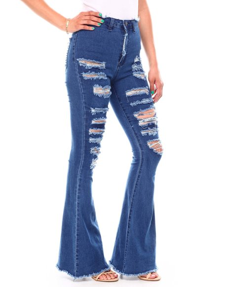 Fashion Lab - High Waisted Wide Leg Distracted Jeans
