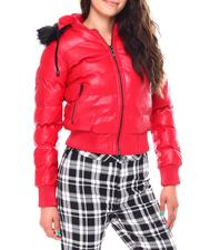 Fall-Winter - Ladies PU Puffer Jacket With faux Fur Lined Hood-2692355
