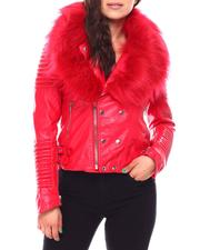 Fall-Winter - Ladies PU Biker Jacket With Matching Faux Fur Lined Collar-2692570