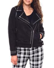 Fall-Winter - Ladies Faux Shearling Jacket With Studs-2692784