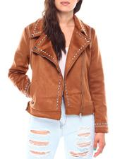 Fall-Winter - Ladies Faux Shearling Jacket With Studs-2692826