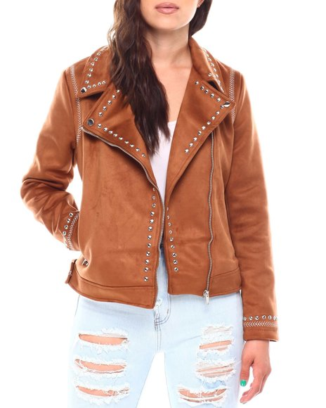 Fashion Lab - Ladies Faux Shearling Jacket With Studs