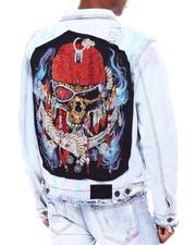 Majestik - Hand made beads embellished Skull denim jackets-2693845