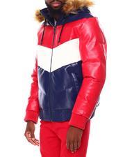 Leather Jackets - Chevron PU Heavy Weight Jacket-2695750