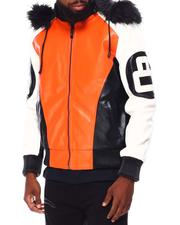 Leather Jackets - 8 Ball Color Block PU Jacket-2695767