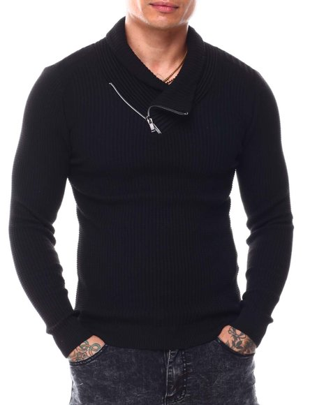 Buyers Picks - Ribbed Zip Shawl Collar LS Knit
