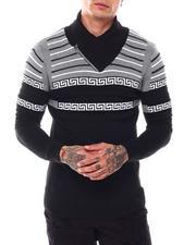 Men - Stripe Greek Key Shawl Collar Ls Knit-2696450