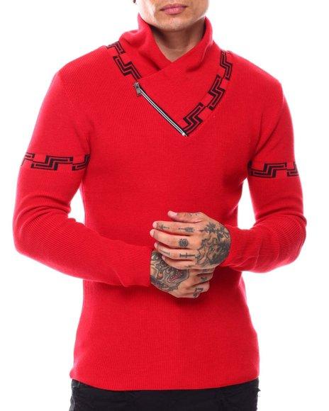 Buyers Picks - Greek Key Shawl Collar Ls Knit