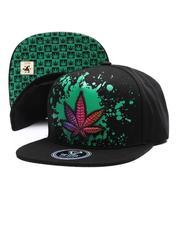 Snapback - Marijuana Leaf Splatter Snapback Hat-2697279
