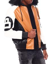 Leather Jackets - 8 Ball Color Block PU Jacket-2694979