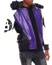 Leather Jackets - 8 Ball Color Block PU Jacket-2695566