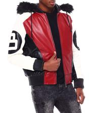 Leather Jackets - 8 Ball Color Block PU Jacket-2695586