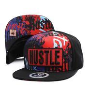 Snapback - Hustle Print Snapback Hat-2697286
