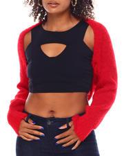 Tops - Open Front Puff Sleeve Mink Yarn Cocoon-2696155
