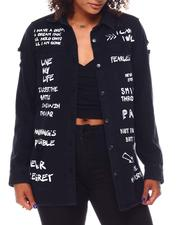 Tops - Over Sizes Denim Shirt W/Verbiage-2694824