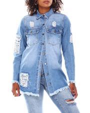 Fashion Lab - Over Sized Denim Shirt Bandana Print Rip & Repair-2694800
