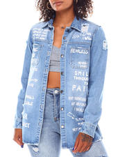 Fashion Lab - Over Sizes Denim Shirt W/Verbiage-2694816