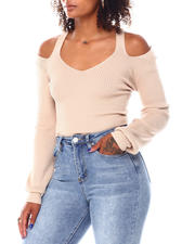 Fashion Lab - L/S Ribbed Double Vee Cross Bands Back Balloon Sleeve Pullover-2696046