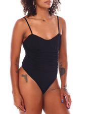 Women - Ruched Mesh Thong Bodysuit W/Adjustable Straps-2696150