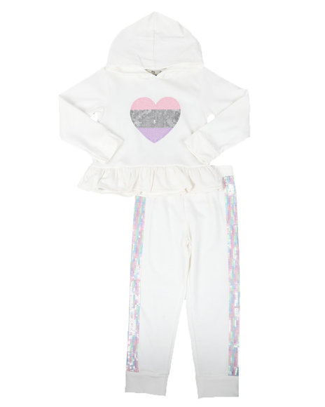 La Galleria - 2 Pc Sequin Embroidered Heart Peplum Hoodie & Jogger Pants Set (4-6X)