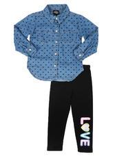 La Galleria - 2Pc Printed Denim Shirt & Leggings Set (4-6X)-2699227