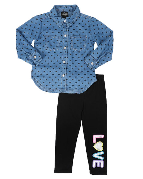 La Galleria - 2Pc Printed Denim Shirt & Leggings Set (4-6X)