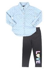 La Galleria - 2Pc Printed Denim Shirt & Leggings Set (4-6X)-2699231
