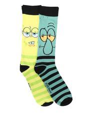 DRJ SOCK SHOP - 2Pk SpongeBob Squidward Socks-2702283