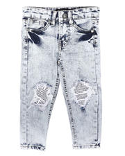 Sizes 2T-4T - Toddler - Newspaper Print Backing Baked Jeans (2T-4T)-2700391