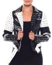 Women - Color Block Biker Jacket W/Studs Print-2703069