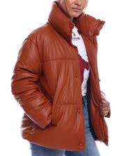 Women - NVLT Faux Leather Drop Shoulder Puffer-2702892